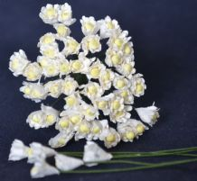 WHITE (Dark Green stem) GYPSOPHILA / FORGET ME NOT with Beads Mulberry Paper Flowers
